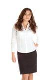 Reizend junge Geschäftsfrau lokalisiert auf weißem Hintergrund Stockfotos