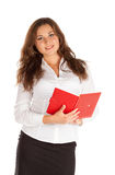 Reizend junge Geschäftsfrau lokalisiert auf weißem Hintergrund Lizenzfreie Stockfotografie