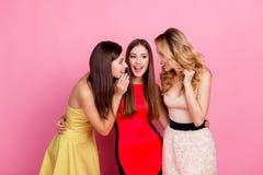 Reizend Mädchen, das Hand nahe dem Mund sagt interessantem Klatsch hält Stockfotos