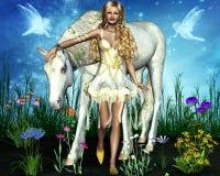 Reizend Mädchen mit einem schönen Pferd Stockfotografie