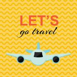 Reizende affiche met het vliegtuig en de gele achtergrond vector illustratie