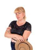 Reizende blonde Frau mit Hut Lizenzfreies Stockbild