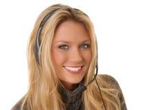 Reizende blonde Frau am Telefon Lizenzfreie Stockfotografie