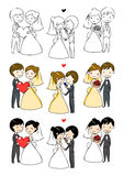 Reizende Braut und Bräutigam mit 3 Tätigkeiten Lizenzfreies Stockbild