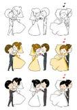 Reizende Braut und Bräutigam mit 3 Tätigkeiten Lizenzfreie Stockbilder