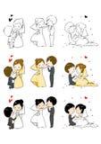 Reizende Braut und Bräutigam mit 3 Tätigkeiten Stockbilder