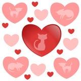 Reizende Dekoration eingestellt mit Kätzchen und Herzen Stockfoto