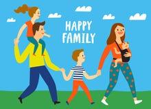 Reizende Eltern, die mit Kindern gehen Lizenzfreie Stockfotografie