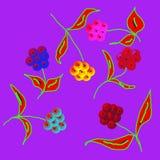 Reizende empfindliche Blumen zerstreuten alle über dem Netz, Muster Stockfotos