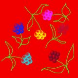 Reizende empfindliche Blumen zerstreuten alle über dem Netz, Muster Lizenzfreie Stockfotografie