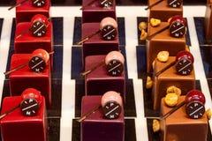 Reizende entworfene belgische choclate Schaffungen, die sehr geschmackvoll schauen stockbild