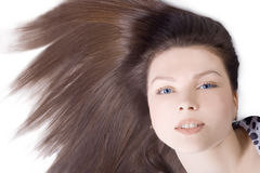 Reizende Frau mit dem langen braunen Haar Stockfotos