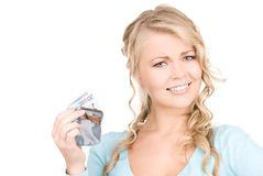 Reizende Frau mit Fonds und Geld Stockfotografie
