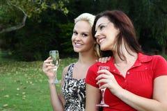 Reizende Frauen, die draußen Wein trinken Stockbild