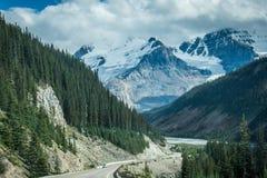 Reizende Gebirgslandschaft auf den Kanadier Rocky Mountains entlang der Icefields-Allee im Sommer stockfotografie