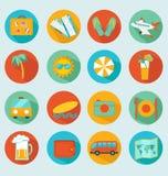 Reizende geplaatste pictogrammen Stock Fotografie