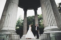Reizende glückliche Hochzeitspaare, Braut mit langem weißem Kleid lizenzfreies stockbild