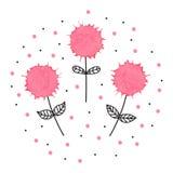 Reizende Hand gezeichnete Illustration von drei Blumen mit Aquarell Lizenzfreie Stockfotografie