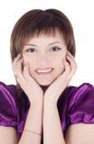 Reizende junge Frau über Weiß Stockbild