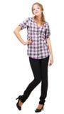 Reizende junge Frau in der beiläufigen Kleidung Lizenzfreies Stockfoto