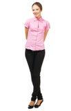 Reizende junge Frau in der eleganten Kleidung Stockfotografie