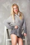 Reizende junge Frau in einem grauen Pullover gegen einen Hintergrund des Gipses und des Flachses Lizenzfreie Stockfotografie