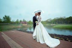 Reizende Junge merried gerade Paare in den Hochzeitsanzügen, die unter dem Regenschirm umarmen Stockbild
