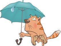 Katze und ein Regenschirm. Karikatur stock abbildung