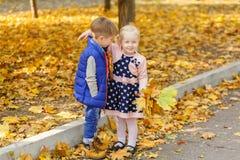 Reizende kleine Kinder stehen im Herbstpark lizenzfreies stockbild