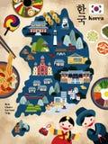 Reizende Korea-Reisekarte Lizenzfreie Stockfotografie