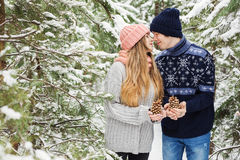 Reizende Paare mit großen Kegeln in den Händen im Winterwald Lizenzfreies Stockfoto
