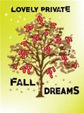Reizende private grafische Baumdesign-Fallträume Stockfotos