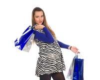 Reizende schwangere Frau auf Einkaufen 6 stockfoto