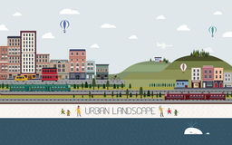 Reizende Stadtlandschaft im flachen Design Stockbild