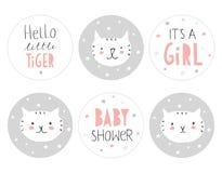 Reizender Babyparty-runde Form-Tag-Satz Hallo kleiner Tiger vektor abbildung