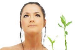 Reizender Brunette mit Bambus Lizenzfreie Stockbilder