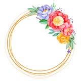 Reizender Kranz mit Pfingstrose, Rose, Blättern, Blumen, Niederlassungen und Beeren lizenzfreie abbildung