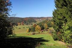 Reizender Wanderweg nannte ` ` Ibacher Panoramaweg nahe Oberibach, welches die bunte Landschaft im südlichen Schwarzen zeigt Stockfoto