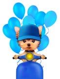 Reizender Welpe, der auf Motorrad mit Ballonen sitzt Stockfotografie