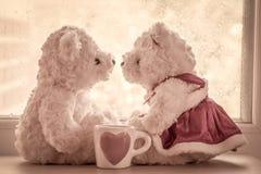 Reizendes Glas mit Paarteddybären in der Liebe Lizenzfreies Stockfoto