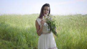 Reizendes junges Mädchen des Porträts mit dem brunette Haar, das eine lange weiße Sommermode-Kleiderstellung auf dem Feld trägt f stock footage