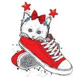 Reizendes Kätzchen in einer Zeder mit einer festlichen Kante auf seinem Kopf Vector Illustration für eine Postkarte oder ein Plak stock abbildung