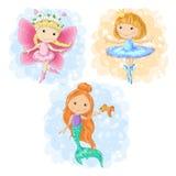 Reizendes Karikaturmädchen in den verschiedenen Kostümen Schmetterling, Ballerina und eine Meerjungfrau Vektor Stockbild