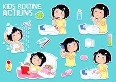 Reizendes kleines Mädchen und Hygiene - tägliches Programm - Satz von sechs clipart Illustrationen stock abbildung