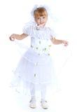 Reizendes Mädchen im weißen Kleid Stockbilder