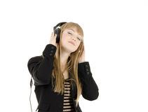 Reizendes Mädchen mit Kopfhörern Lizenzfreie Stockfotos
