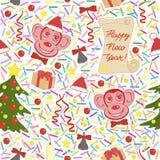 Reizendes nahtloses Muster des neuen Jahres Endloser Hintergrund Stockfoto