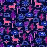 Reizendes nahtloses Muster mit Pferden, Kakteen, Bäumen und Äxten stock abbildung