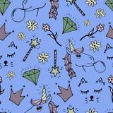 Reizendes nahtloses Muster mit von Hand gezeichneten Einhörnern und netten Gekritzeln vektor abbildung