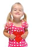 Reizendes nettes Mädchen mit rotem Innerem Stockbild